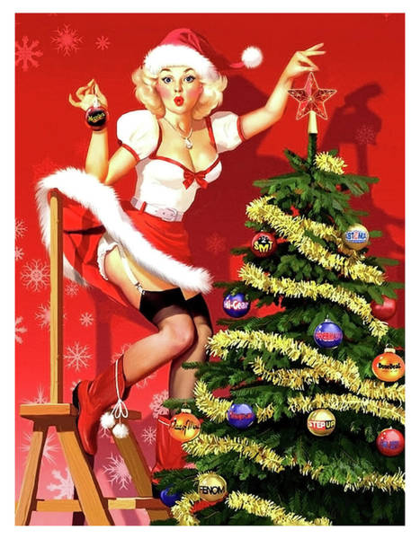 Wall Art - Painting - Sexy Pin-up Blond Is Decorating A Christmas Tree by Long Shot