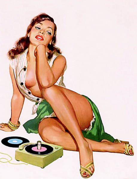 Long Dress Painting - Sexy Pin Up Girl With Great Legs And Loose Dress Listening A Music On Old Gramophone by Long Shot