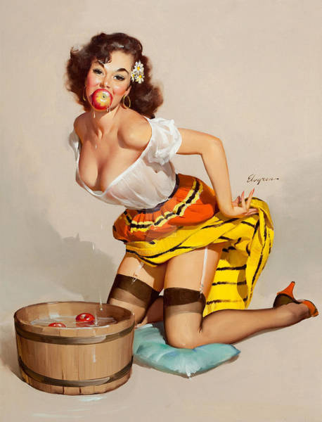 Bobbing For Apples Wall Art - Painting - Sexy Pin Up Woman Play Bobbing For Apples, Halloween Game by Long Shot