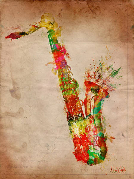 Grunge Music Wall Art - Digital Art - Sexy Saxaphone by Nikki Smith