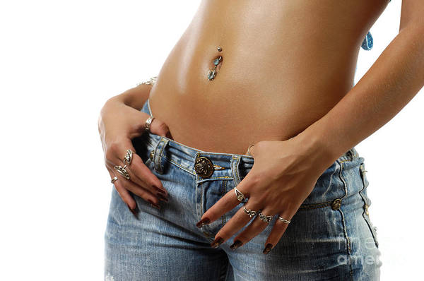 Body Piercing Photograph - Sexy Woman With Pierced Belly In Blue Jeans by Oleksiy Maksymenko