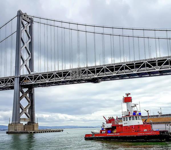 Fireboat Wall Art - Photograph - San Francisco Fire Department Barge by Deb Breton