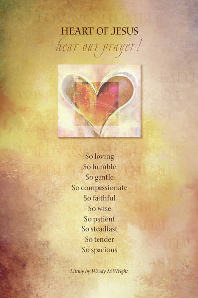 Sacred Heart Digital Art - Sh Litany Opening by Terry Davis