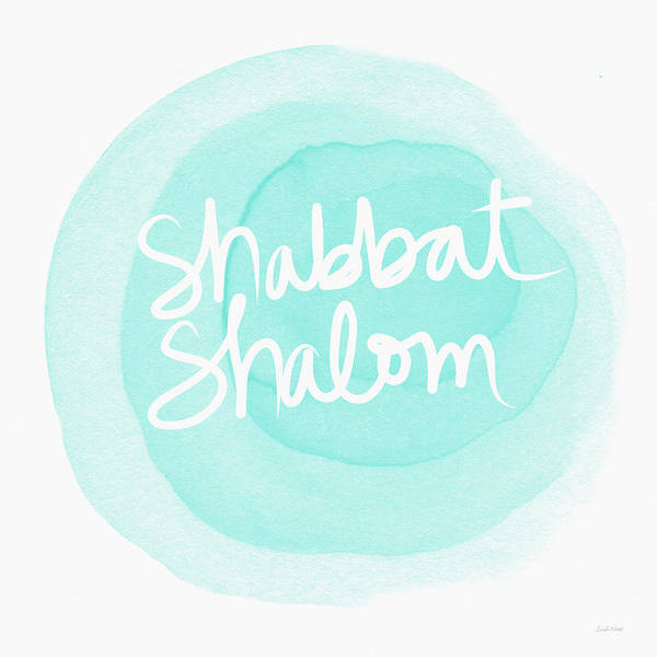 Jewish Art Wall Art - Painting - Shabbat Shalom Sky Blue Drop- Art By Linda Woods by Linda Woods