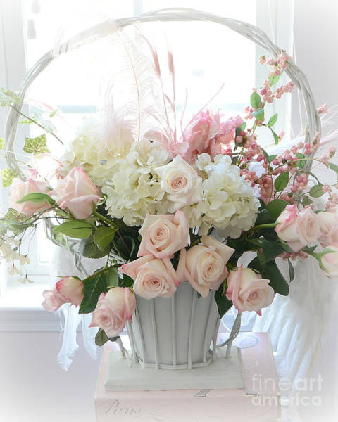 White Rose Photograph - Shabby Chic Basket Of White Hydrangeas - Pink Roses - Dreamy Shabby Chic Floral Basket Of Roses by Kathy Fornal