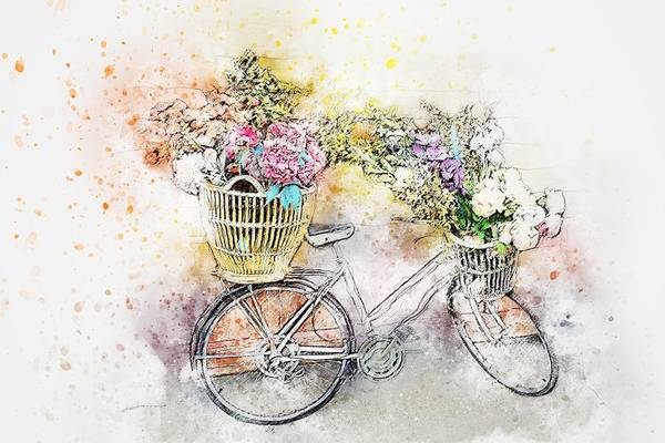 Painting - Shabby Chic Le Bicyclette by Joy of Life Arts Gallery