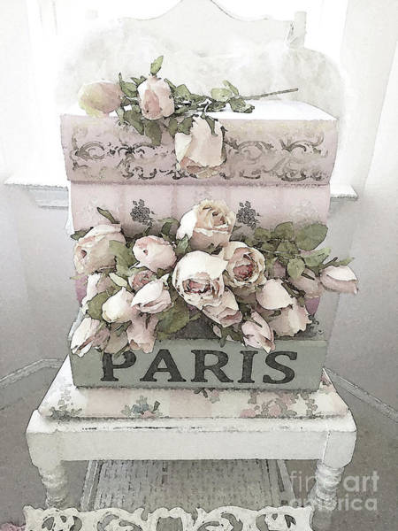 Fleur Digital Art - Paris Shabby Chic Pastel Paris Books Roses - Paris Shabby Cottage Watercolor Roses by Kathy Fornal