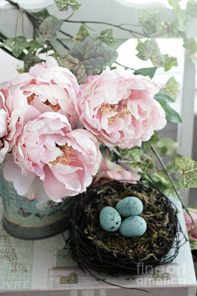 Wall Art - Photograph - Shabby Chic Peonies With Bird Nest Robins Eggs - Summer Garden Peonies by Kathy Fornal
