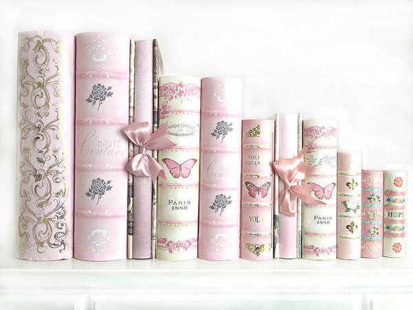 Wall Art - Photograph - Shabby Chic Pink Books Collection - Paris Pink Books Art Prints Home Decor by Kathy Fornal