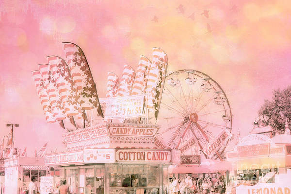 Candy Apples Wall Art - Photograph - Pink Carnival Prints - Shabby Chic Cotton Candy Pink Carnival Ferris Wheel  by Kathy Fornal