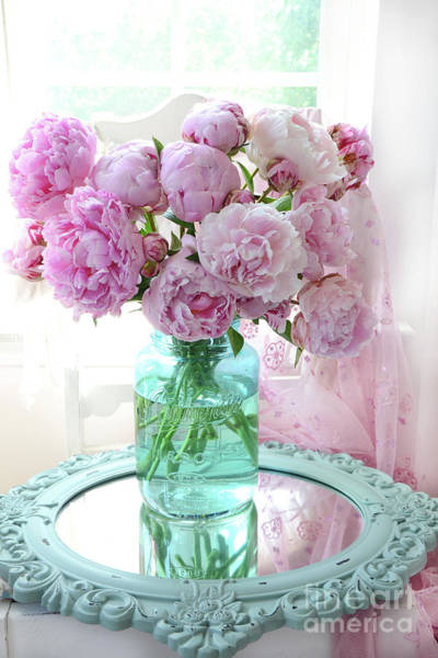 Peonies Photograph - Shabby Chic Pink Peonies In Aqua Vase - Romantic Cottage Peonies Pink And Aqua Decor Wall Art Prints by Kathy Fornal