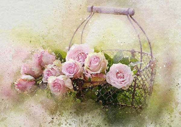 Painting - Shabby Chic Pink Roses In Basket by Joy of Life Art Gallery
