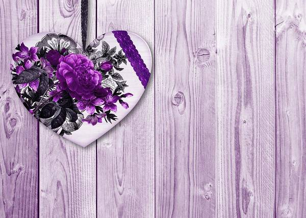 Mixed Media - Shabby Chic Purple Floral Heart  On Lilac Wood Background by Shabby Chic and Vintage Art