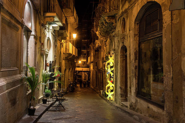 Photograph - Shabby Chic - Small Street Night Walk In Syracuse Sicily by Georgia Mizuleva