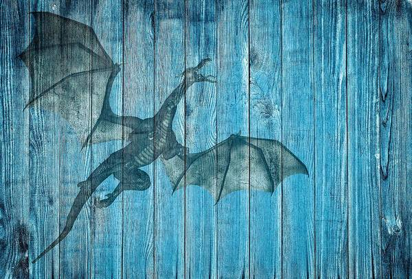 Mixed Media - Shabby Chic Style Fantasy Dragon On Wood by Shabby Chic and Vintage Art