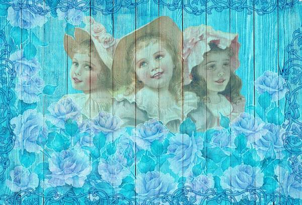 Drawing - Shabby Chic Vintage Little Girls And Roses On Wood by Joy of Life Art Gallery