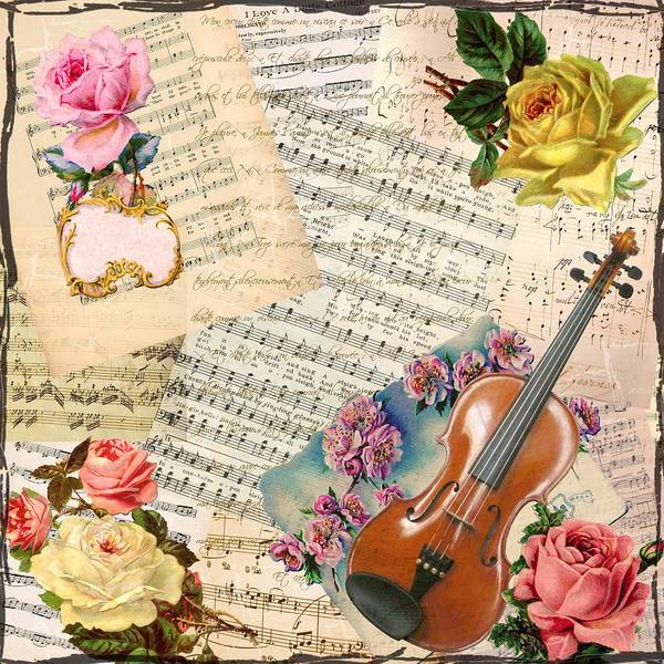 Mixed Media - Shabby Chic Vintage Sheet Music by Joy of Life Art Gallery