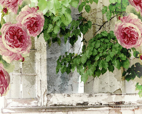 Shabby Chic Roses Wall Art - Painting - Shabby Cottage Window by Mindy Sommers