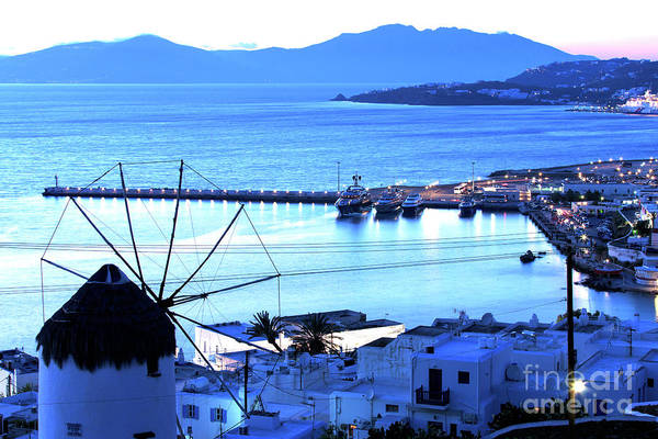 Photograph - Shades Of Blue At Night In Mykonos by John Rizzuto