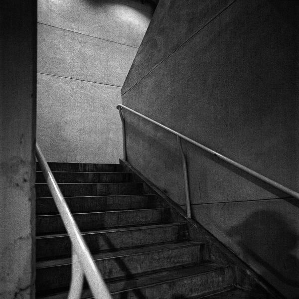 Wall Art - Photograph - Shadow On The Stairs Bw Parking Structure by YoPedro