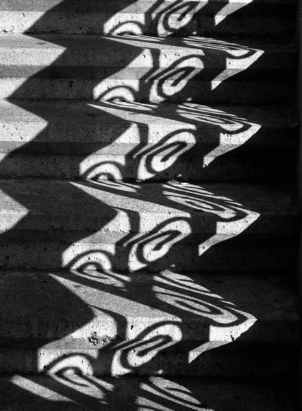 Wall Art - Photograph - Shadowplay Light Through The Railing Black And White by Eve Paludan