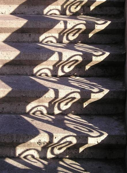 Wall Art - Photograph - Shadowplay Light Through The Railing Color by Eve Paludan