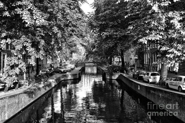 Photograph - Shadows Along The Amsterdam Canal Mono by John Rizzuto
