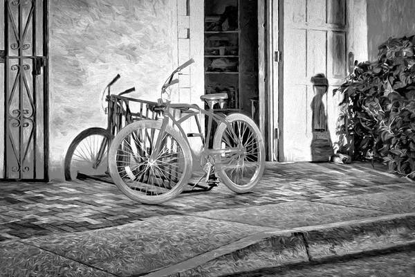 Bicycle Rack Photograph - Shadows And Bike - Black And White by Nikolyn McDonald