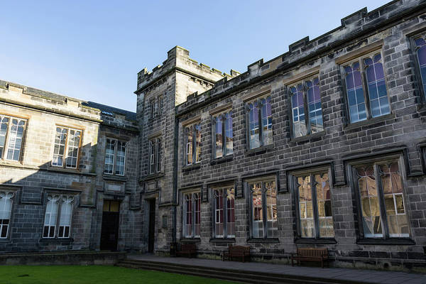 Photograph - Shadows And Reflections - University Of Aberdeen Courtyard by Georgia Mizuleva