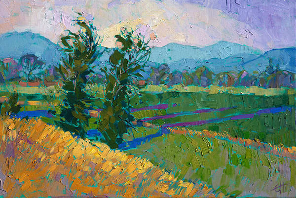 Wall Art - Painting - Shadows In The Green by Erin Hanson