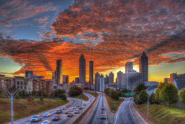 The Southern Company Photograph - Shadows In The Sky Atlanta Downtown Sunset by Reid Callaway