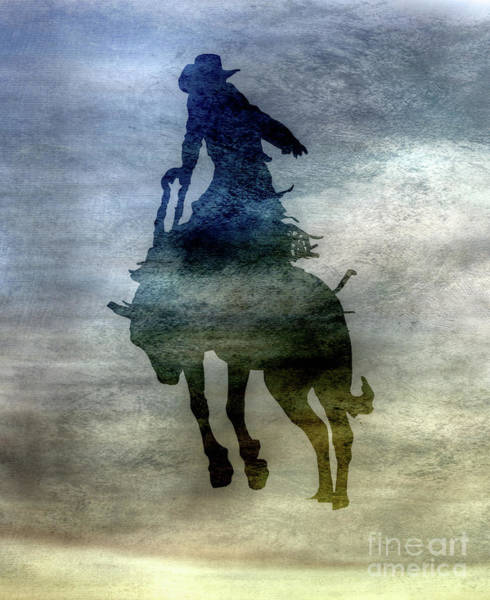 Bucking Bronco Digital Art - Shadows Of The Rodeo Two by Randy Steele