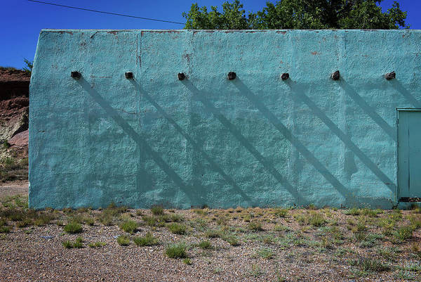 Photograph - Shadows On Turquoise Wall by Bud Simpson