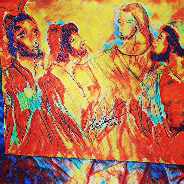 Mixed Media - Shadrach, Meshach And Abednego In The Fire With Jesus by Love Art Wonders By God