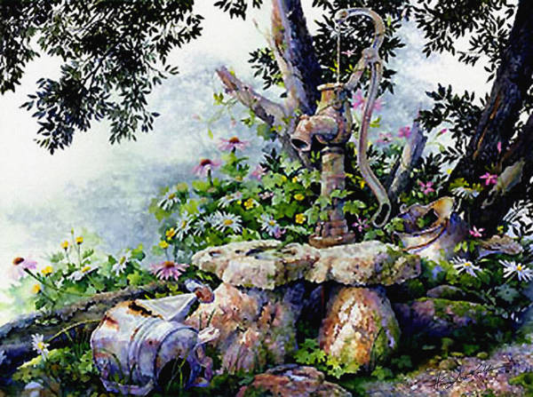 Watering Can Painting - Shady Rest by Hanne Lore Koehler