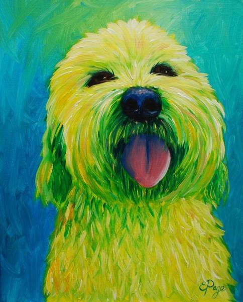 Painting - Shaggy Dog In Yellow by Emily Page