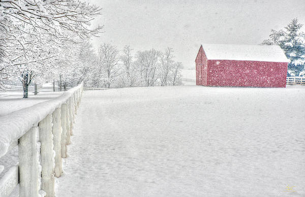 Photograph - Shaker Red Barn In Snow by Sam Davis Johnson