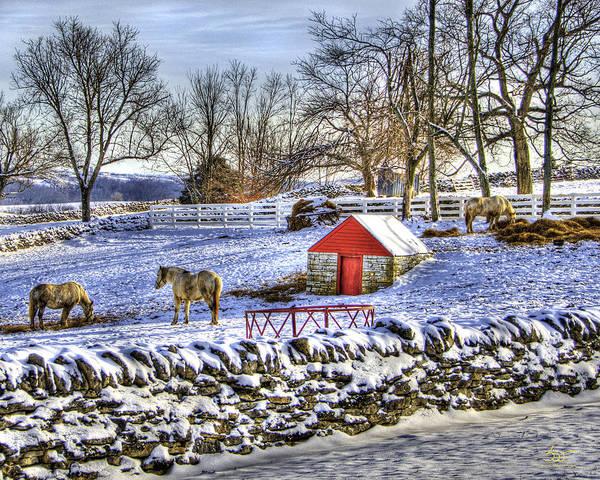 Photograph - Shaker Red Door Winter by Sam Davis Johnson