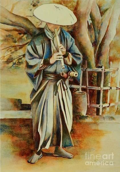 Samurai Painting - Shakuhachi Samurai by Robert Hooper