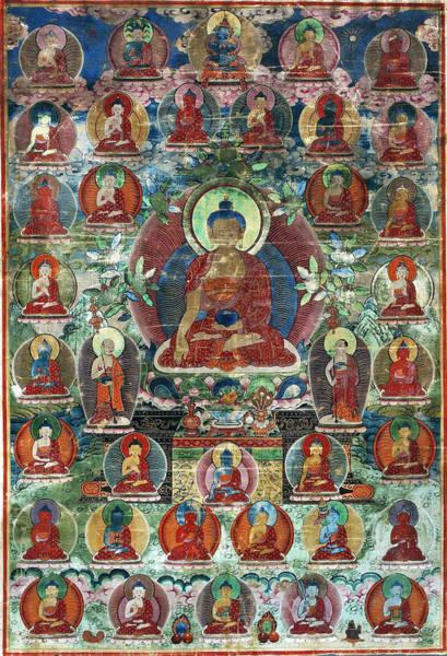 Chinese Buddha Painting - Shakyamuni Buddha Accompanied By Maudgalyayana And Sariputta by Anonymous from Tibet