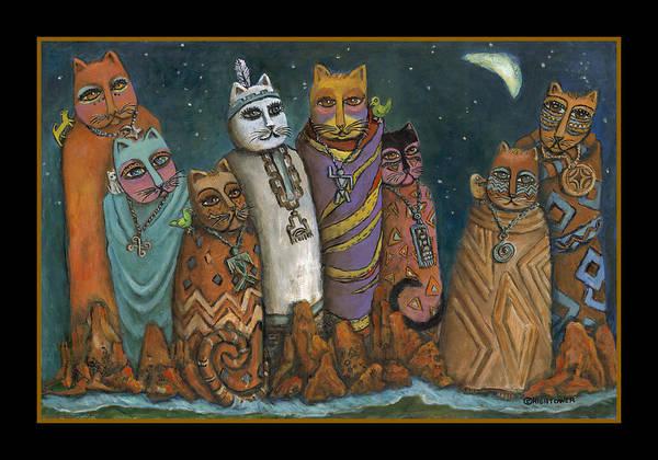 Oak Creek Canyon Painting - Shaman Gathering In Sedona Oak Creek Canyon by Janice Hightower