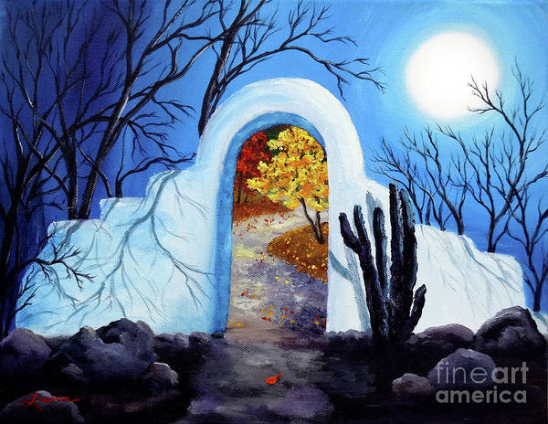 Full Moon Painting - Shamans Gate To Autumn by Laura Iverson