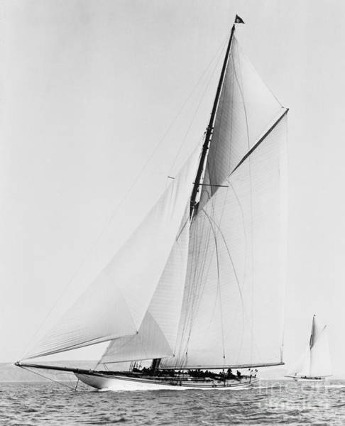 Americas Cup Photograph - Shamrock IIi 1903 Bw by Padre Art
