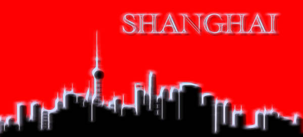 Neon Lights Mixed Media - Shanghai Electric Skyline by Dan Sproul