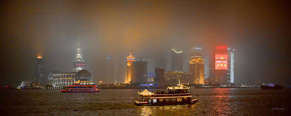 James River Photograph - Shanghai Skyline At Night by James Dricker