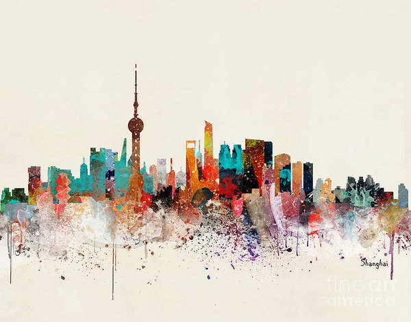 Chinese Painting - Shanghai Skyline by Bri Buckley