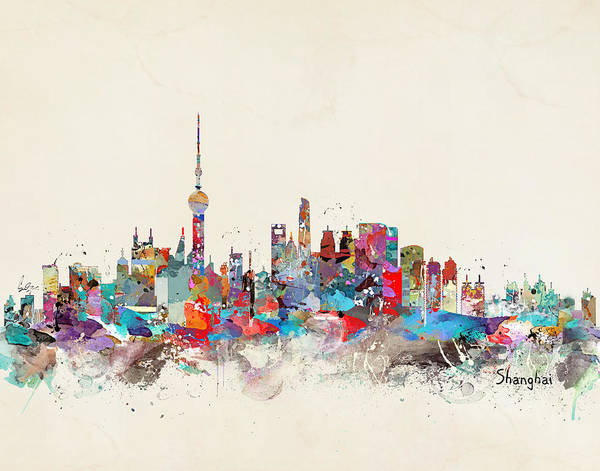 Watercolour Landscape Painting - Shanghai Skyline by Bri Buckley