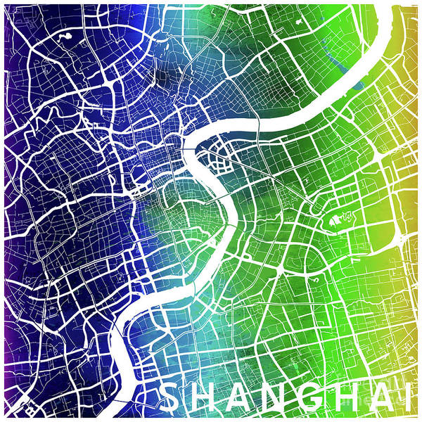 Mapping Digital Art - Shanghai Watercolor by Delphimages Photo Creations