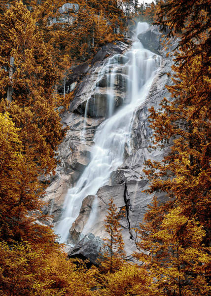 Plunge Photograph - Shannon Falls - Indian Summer by Stephen Stookey