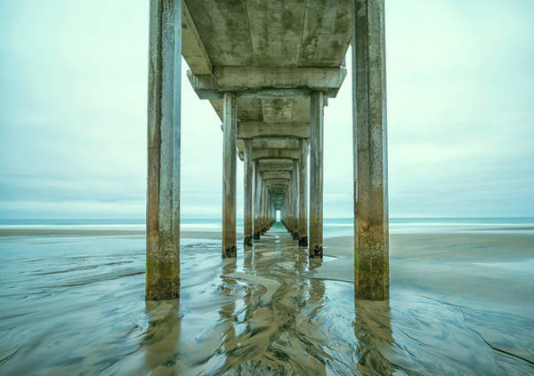 Scripps Pier Photograph - Shapes In The Sand #1 by Joseph S Giacalone